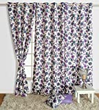 "Swayam Premium Printed Sigma Faux Silk Blackout Window Curtain with Eyelets - 48"" x 60"" - Multicolor"