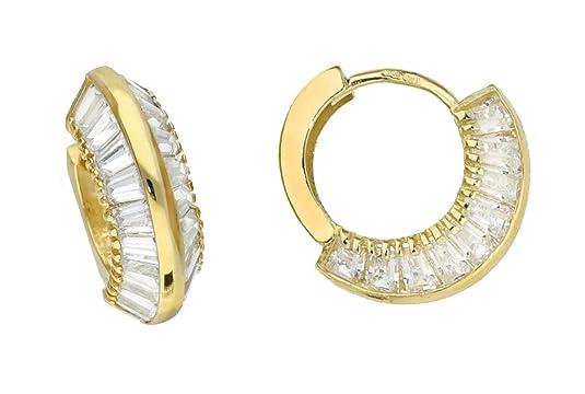 Adara 9 ct Yellow Gold Cubic Zirconia Creole Earrings