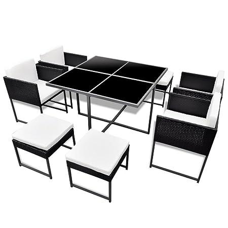 vidaXL 21tlg. Poly Rattan Gartenmöbel Gartengarnitur Essgruppe Sitzgruppe Tisch Stuhle