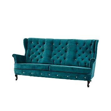 Sofa Dynastia III, Dreisitzer Couch, Kristallknöpfe, 4 Farben, Couchgarnitur, Sofagarnitur, Sofa fur Wohnzimmer, Polstermöbel, Wohnlandschaft, (Milton 12)