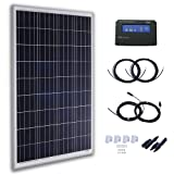 Komaes 100 Watts 12 Volts Polycrystalline Solar Panel Kit with 20A PWM Charge Controller + 20ft Tray Cable + 20ft MC4 Connectors + Mounting Z Brackets (Color: 100W Polycrystalline Kit A, Tamaño: 1pc-PWM kits)