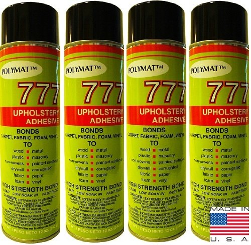 4 Cans Of Polymat 777 Foam Speaker Box Carpet Car Auto Liner And Fabric Spray Glue Adhesive