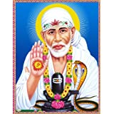 "Dolls Of India ""Shirdi Sai Baba With Shivalinga"" Reprint On Paper - Unframed (27.94 X 22.86 Centimeters)"