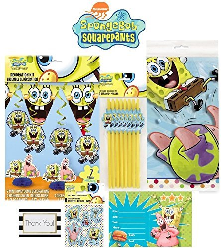 spongebob-party-kit-plastic-table-cover-7-piece-decoration-kit-invitations-straws-plus-8-sheets-of-s