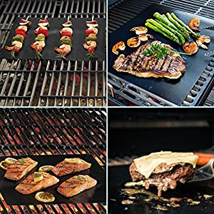 "EP-Non-stick BBQ Grill Mat, Set of 3 Reusable Nonstick Baking Mats, Easy to Clean and Dishwasher safe - 15.75"" x 13"" 