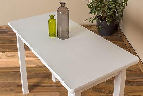 Massivholz Esstisch 50x100 cm Kiefer, Farbe: Weiß