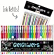 Gel Pens | 48 - 24 Colored Pens plus 24 Gel Ink Refills | Glitter, Neon and Pastel Styles | Coloring and Craft Pen Set for Adults and Kids Includes Brown, White, Gold and Silver | Handy Artist Case