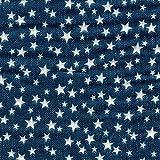 【綿二重ガーゼ・ダブルガーゼ プリント】星(2) デニム調プリント 4色あります 1m単位で切り売りいたします (ブルー系)