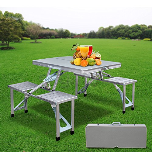 Cheapest Prices! F2C Portable Aluminum Suitcase Outdoor/Indoor Folding Camping Picnic Table With 4 S...