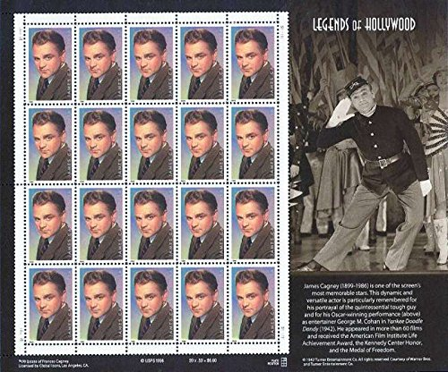 James Cagney: Legends of Hollywood, Full Sheet of 20 x 33-Cent Postage Stamps, USA 1999, Scott 3329 - 1