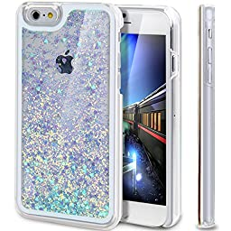 iPhone 6S Case, NSSTAR Liquid Case for iPhone 6S,Creative Design Flowing Liquid Floating Luxury Bling Glitter Sparkle Love Heart Hard Case for Apple iPhone 6S (2015) & iPhone 6 (2014)(Love:Blue)