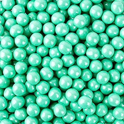 Tiffany Blue Sixlets (Turquoise) Shimmer (2 Lbs Bag) Gluten Free Nut Free Chocolate Coated Candy Balls 9.52 mm Party Favors Weddings Supplies Party Supplies