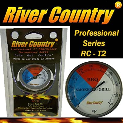 "2"" River Country Professional Series Adjustable Grill & Smoker Thermostat Thermometer Gauge"