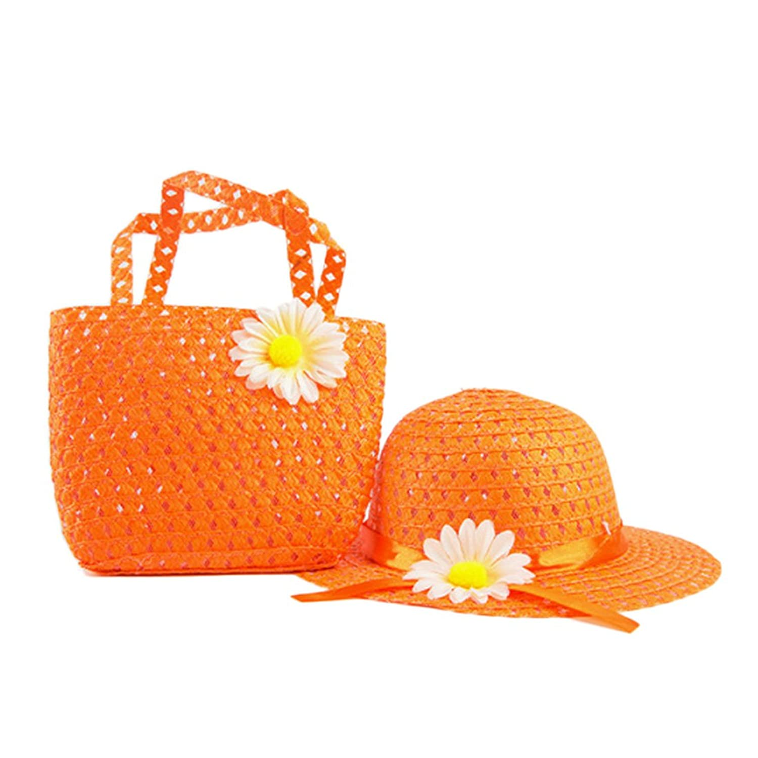 Voberry® Baby Kids Girl Summer Beach Flower Straw Sun Hats With Handbag Bag