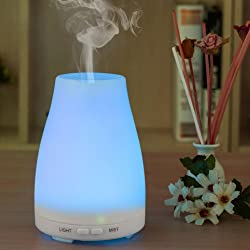 Amir Essential Oil Diffuser Ultrasonic Cool Mist Humidifier - Color Lights - Waterless Auto Shut-off