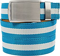 SlideBelts Women's Canvas Belts - Taffy Blue with Silver Buckle (Trim-to-fit: Up to 48