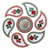 Mela Beaded Exclusive Festive Diwali Rangoli And Tea Light Candle Holder With Gift Box (Acrylic, 25 Cms, White...