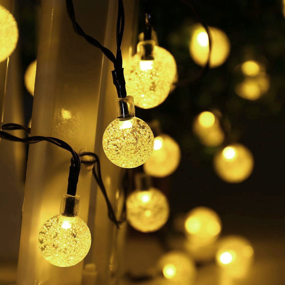 LUCKLED Globe Solar Christmas Lights, 20ft 30LED Fairy Bubble Crystal Ball String Lights Decorative Lighting for Indoor/Outdoor, Garden, Home, Xmas Tree, Party and Holiday D¡§?cor(Warm White)