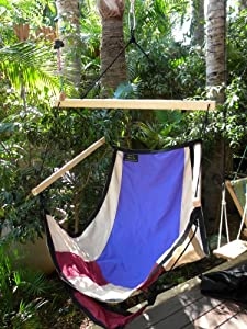 Quality Sitting Hammock indoor and outdoor (Dark blue red and green)