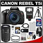 Canon EOS Rebel T5i Digital SLR Camera & 18-135mm IS STM & 55-250mm IS STM Lens with 32GB Card + Battery + Backpack + Flash + Tripod + Kit