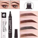 SUNNYM Microblading Eyebrow Tattoo Pen Waterproof Fork Tip Eyebrow Pencil Fine Sketch Liquid Henna Eyebrow Tattoo Pen (02 Dark brown) (Color: 02 Brunette)