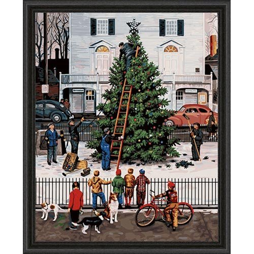 Plaid 21753 Paint By Number Kit, 16-Inch By 20-Inch, Tree In Town Square front-1015659