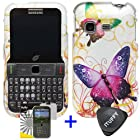 3 items Combo: ITUFFY (TM) LCD Screen Protector Film + Case Opener + Silver Green Purple Butterfly Paisley Flower Vine Design Rubberized Snap on Hard Shell Cover Faceplate Skin Phone Case for Samsung S390G (Straight Talk / Net 10 / Tracfone)