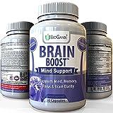 BRAIN-BOOST Natural Brain Function Support Supplement - Best Mental Alertness Nootropic to Enhance Memory, Focus Factor, Clarity & Energy /w Ginko Biloba Leaf, St. John's Wort, DMAE, L-Glutamine