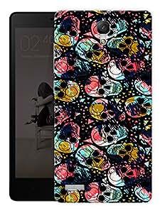 "Splattered Skulls Art Printed Designer Mobile Back Cover For ""Xiaomi Redmi Note - Note 4G"" By Humor Gang (3D, Matte Finish, Premium Quality, Protective Snap On Slim Hard Phone Case, Multi Color)"