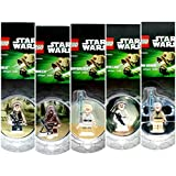 Set Of 5 * Luke Skywalker, Han Solo, Chewbacca, Princess Leia & Obi Wan Kenobi * 2013 Star Wars Lego Magnet Minifigures Collection