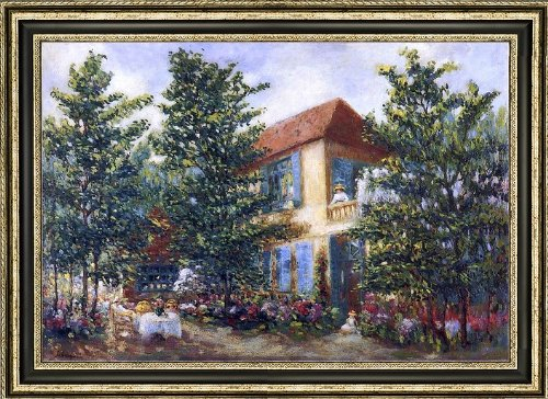 Henri Lebasque After Midday in the Garden (also known as Apres midi d ete au jardin) - 16 x 24 Framed Premium Canvas Print jardin d ete