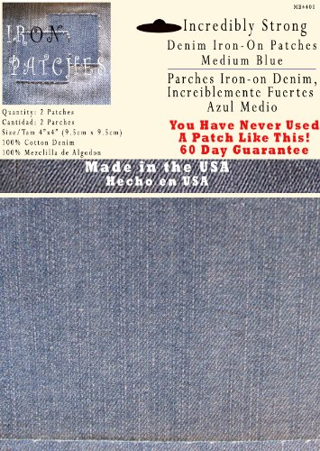 "2 Pack Medium Blue 4""x4"" Iron on Patches - Strongest Iron on Denim Jean Patch"