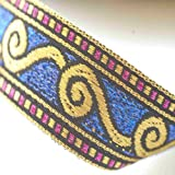 Ribbon Trim with Celtic Jacquard pattern, All metallic ribbon, but Soft feel trim for Sewing or Hobby Crafts or Scrap Booking or Card making. Washable and Durable to decorate garments or interiors or as craft accessory. Stunning Violet, Cerise and Gold o