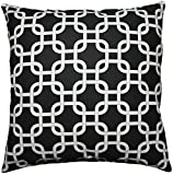 JinStyles Cotton Canvas Trellis Chain Accent Decorative Throw Pillow Cover (Black & White, Square, 1 Cover for 18 x 18 Inserts)
