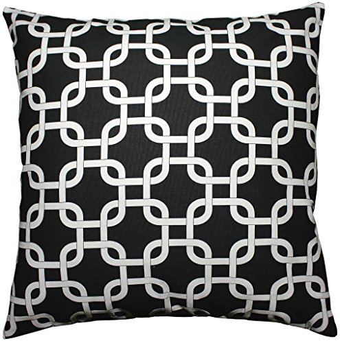 JinStyles® Cotton Canvas Trellis Chain Accent Decorative Throw Pillow Cover (Black & White, Square, 1 Sham for 18 x 18 Inserts)