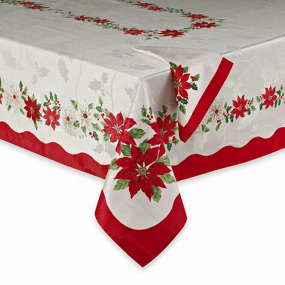 Printed In Christmas Poinsettia And Woven With Metallic Fibers, This Table  Cover Accents Christmas Decor With Color And Sparkle.