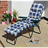 Alfresia Sun Lounger with Luxury Cushion in Blue Check (Green Frame)