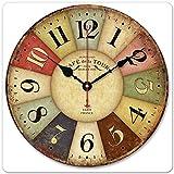 アンティーク 風 時計 レトロ 掛け時計 Paris Wood Wall Clock Vintage (レトロⅠ)