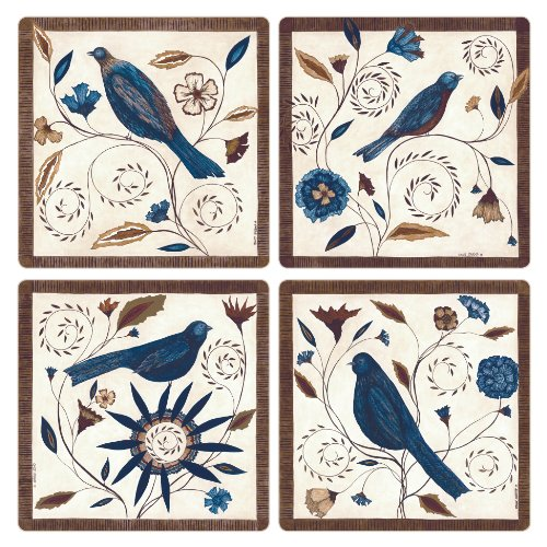 CoasterStone AS9913 Absorbent Coasters, 4-1/4-Inch, Jewel Birds, Set of 4