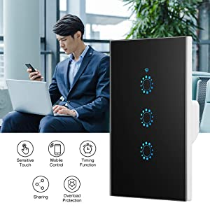 Wifi Smart Light Switch, FORNORM 3 Gang Compatible with Alexa Google Assistant IFTTT for Android iOS, Wireless control (1 pack, Black) (Color: Black, Tamaño: 1 Pack)