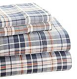 Trade Linker Park Avenue 4-Piece 350 Thread Count Cotton Rich Printed Sheet Set, Full, Plaid