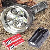 SKYRAY 3XT6-850 XM-LT60 5-Mode 4300LM Flashlight Torch+2PCS Battery+Charger