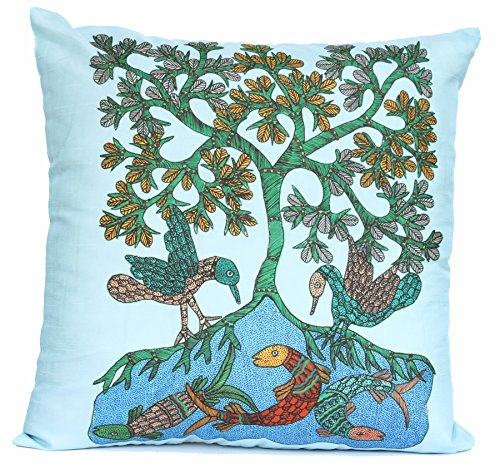 Souvnear Nature'S Blend - 18 X 18 Inch Decorative Throw Pillow Cover - Large Decorative Gond Art Cushion Covers In Blue - Unique Holiday Gifts From India front-630286
