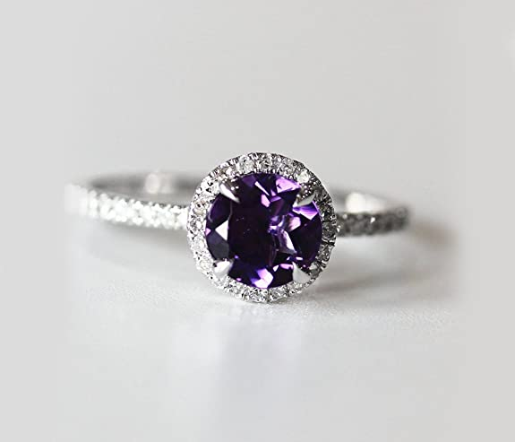 VogueGem VS 7mm Dark Purple Amethyst and Diamonds 14k White Gold Halo Engagement Ring