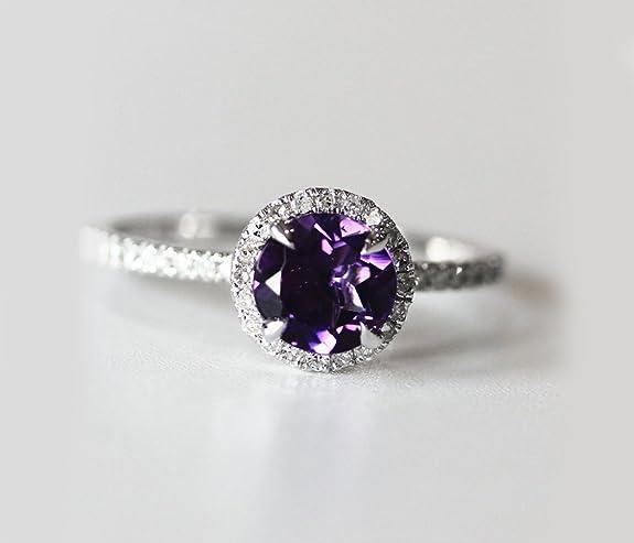 VogueGem VS 7mm Dark Purple Amethyst and Diamonds 14k White Gold Halo Engagement Ring