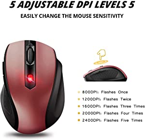 VicTsing mm057 2.4G Wireless Portable Mobile Mouse Optical Mice with USB Receiver, 5 Adjustable DPI Levels, 6 Buttons for Notebook, PC, Laptop, Computer, MacBook-Red (Color: Red)