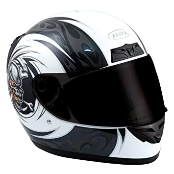 Akira 26104 Casque Moto Intégral Kitami, Blanc/Noir, L
