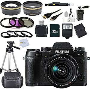 Fujifilm X-T1 16 MP Compact System Camera with 3.0-Inch LCD and XF 18-55mm F2.8-4.0 Lens + 16GB Bundle 14PC Accessory Kit. Includes Wide Angle & Telephoto Lenses + 3pc Filter Kit UV CPL FLD + 16GB Memory Card + Extended Life Replacement Battery (NP-W126) + Case + Tripod + More