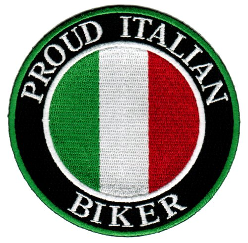 Proud Italian Biker Embroidered Patch Italy Flag Iron-On Motorcycle Emblem (Italian Flag Souvenir compare prices)