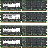 8GB KIT (4 x 2GB) For Tyan Transport Series GT20 (B3870) GT24 (B2881) GT24 (B2891) GX28 (B2881) GX28 (B2882) TA26 (B2882T26) TA26 (B3892) TX46 (B4882). DIMM DDR ECC Registered PC3200 400MHz RAM Memory. Genuine A-Tech Brand. (Tamaño: 8GB KIT (4 x 2GB) (400MHz))
